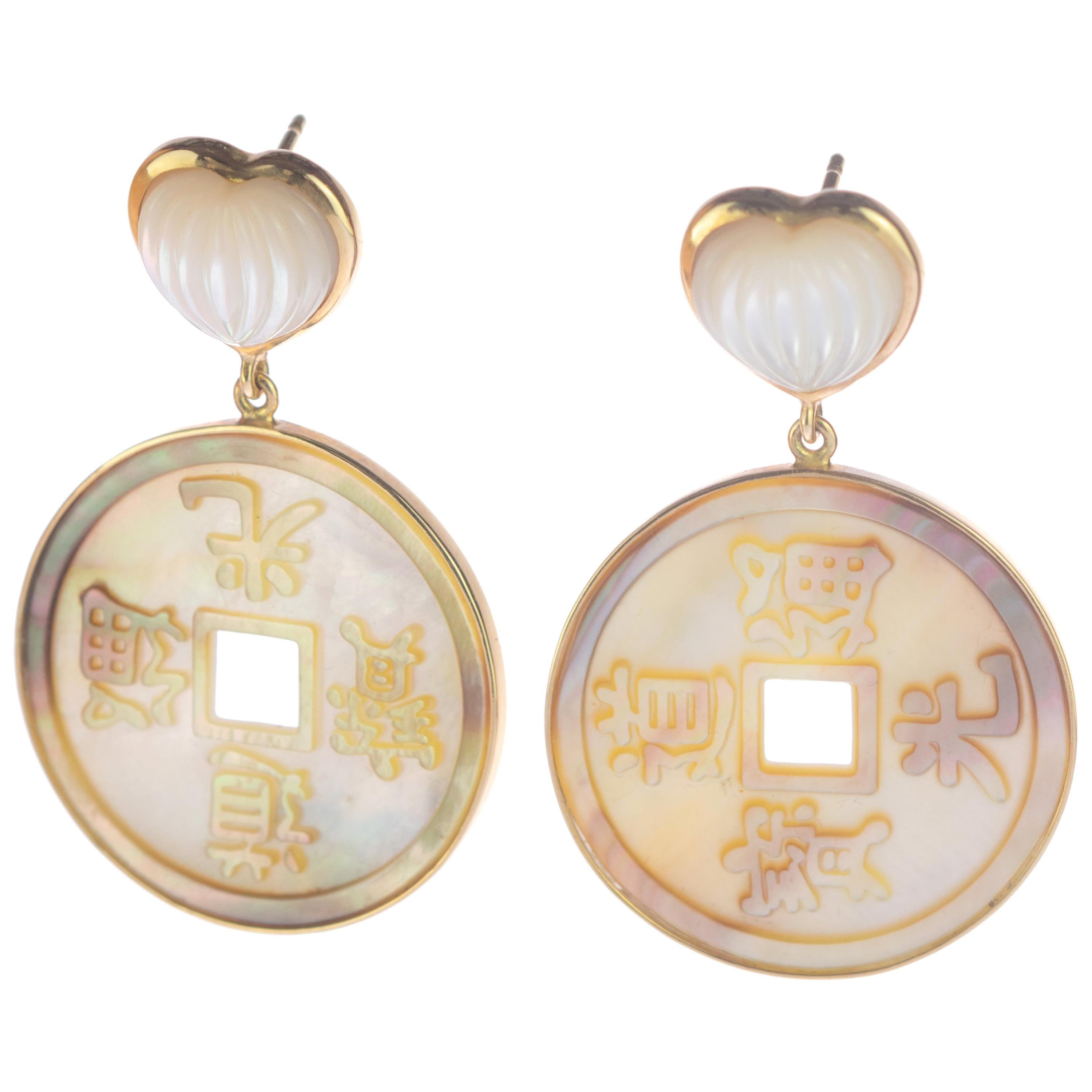 Intini Jewels 18 Karat Gold Mother of Pearl Heart Coins Carved Drop Earrings