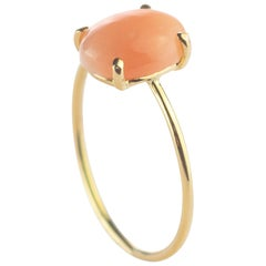 Intini Jewels 18 Karat Gold Oval 2 Carat Pink Coral Cocktail Handmade Ring