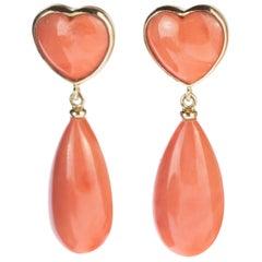 Intini Jewels 18 Karat Gold Pink AAA Coral Heart Drop Long Love Dangle Earrings