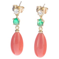 Intini Jewels 18 Karat Gold Pink Coral Diamonds Emeralds Dangle Tear Earrings