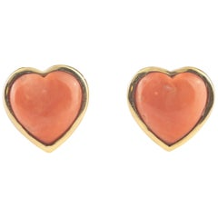 Intini Jewels 18 Karat Gold Salmon Coral Heart Stud Love Valentine Earrings