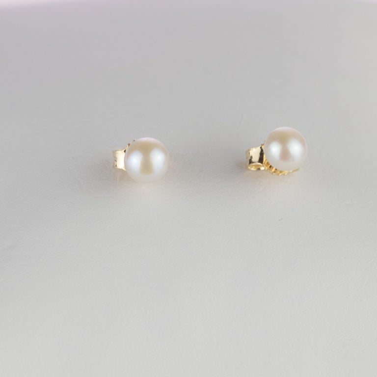 Women's or Men's Intini Jewels 18 Karat Yellow Gold Round Freshwater Pearl Deco Artisan Earrings For Sale