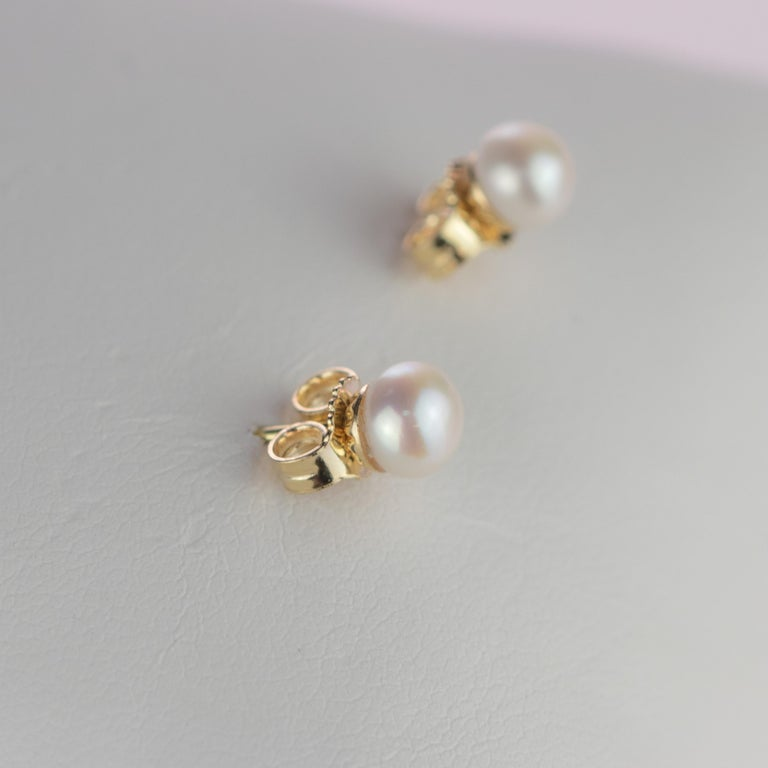 Intini Jewels 18 Karat Yellow Gold Round Freshwater Pearl Deco Artisan Earrings For Sale 2