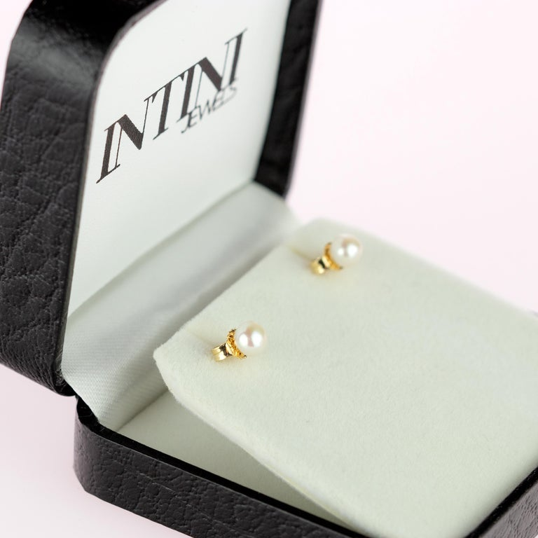 Intini Jewels 18 Karat Yellow Gold Round Freshwater Pearl Deco Artisan Earrings For Sale 9