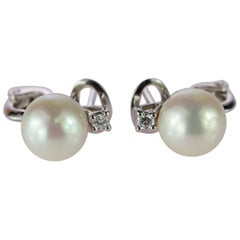 Intini Jewels 18 Karat White Gold Diamond South Sea Pearl Vintage Chic Earrings