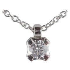 Intini Jewels 18 Karat White Gold Square Diamond Round Pendant Chain Necklace