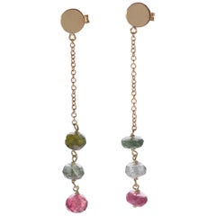 Intini Jewels 18 Karat Yellow Gold Chain Tourmaline Rondelles Drop Chic Earrings