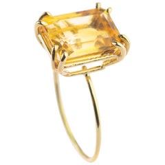 Intini Jewels 18 Karat Yellow Gold Natural Citrine Quartz Cocktail Handmade Ring