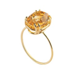 Intini Jewels 18 Karat Yellow Gold Natural Citrine Quartz Cocktail Handmade Ring