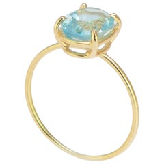 Intini Jewels 18 Karat Yellow Gold Oval 2 Carat Topaz Cocktail Handmade Ring