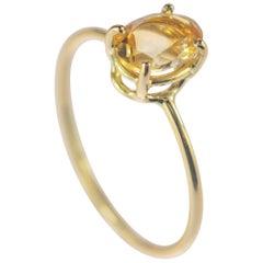 Intini Jewels 18 Karat Yellow Gold Oval Cut Citrine Quartz Cocktail Ring