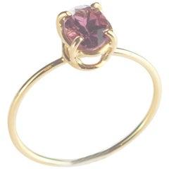 Intini Jewels 18 Karat Yellow Gold Oval Rubellite Cocktail Handmade Chic Ring