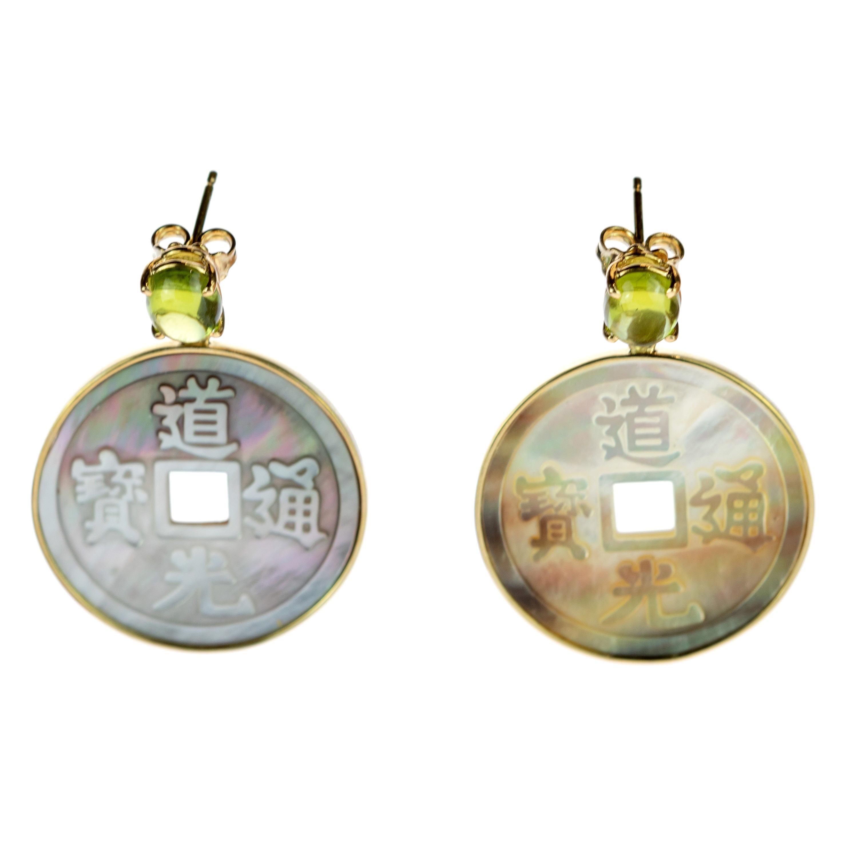 Intini Jewels 18 Karat Yellow Gold Peridot Mother of Pearl Carved Drop Earrings