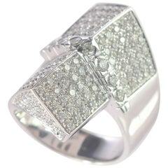 Intini Jewels 2.17 Diamond Pave 18 Karat White Gold Cocktail Geometric Ring