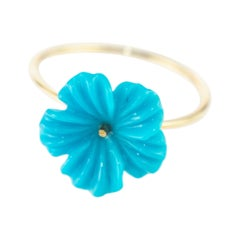 Intini Jewels 3.5 Carat Natural Turquoise Flowers 18 Karat Gold Carved Girl Ring