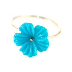 Intini Jewels 3.5 Carat Natural Turquoise Flowers 9 Karat Gold Carved Girl Ring