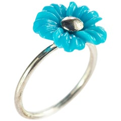 Intini Jewels 3.5 Carat Natural Turquoise Flowers 925 Sterling Silver Girl Ring