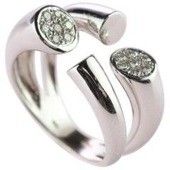 Intini Jewels 4 Open Tube Set Diamond 18 Karat White Gold Cluster Handmade Ring