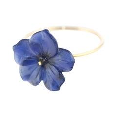 Intini Jewels 9 Karat Gold Lapis Lazuli Flower Spring Italian Handmade Ring