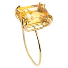 Intini Jewels 9 Karat Yellow Gold Natural Citrine Quartz Cocktail Handmade Ring