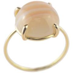 Intini Jewels Agate Natural Brown 18 Karat Yellow Gold Handmade Cocktail Ring