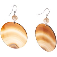 Intini Jewels Agate Round Brown Sand Color Shade Pearl Circular Dangle Earrings