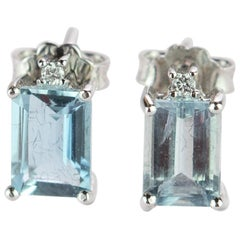 Intini Jewels Aquamarine Baguette Diamond Square Gold Handmade Royal Earrings