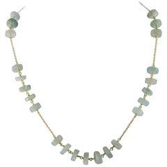 Intini Jewels Aquamarine Rondelles 18 Karat Yellow Gold Chain Handmade Necklace
