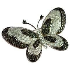 Intini Jewels Black Diamonds Pave Brilliant Butterfly 18 Karat White Gold Brooch
