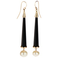 Intini Jewels Black Onyx Cone Freshwater Pearls 18 Karat Gold Dangle Earrings