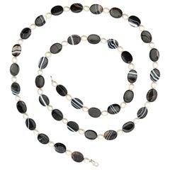 Intini Jewels Black White Oval Tube Agate Beaded Boho Long Wrap Around Necklace
