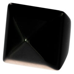 Intini Jewels Black XX Carat Agate Art Deco Style Handmade Cocktail Rigid Ring