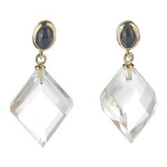 Intini Jewels Blue Sapphire Rock Crystal 18 Karat Gold Drop Cocktail Earrings