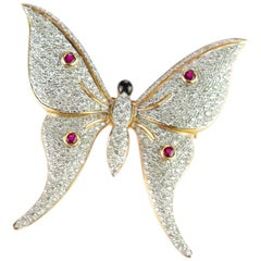 Intini Jewels Butterfly 18 Karat Gold Ruby Diamond Moth Pin Scarf Clip Brooch