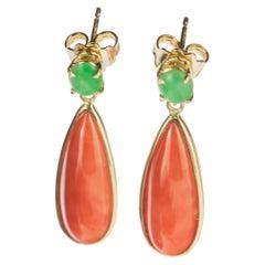 Intini Jewels Cammeo Salmon Coral Tear Jade 18 Karat Gold Dangle Drop Earrings