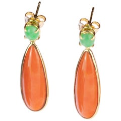 Intini Jewels Cammeo Salmon Coral Tear Natural Jade 18 Karat Gold Drop Earrings