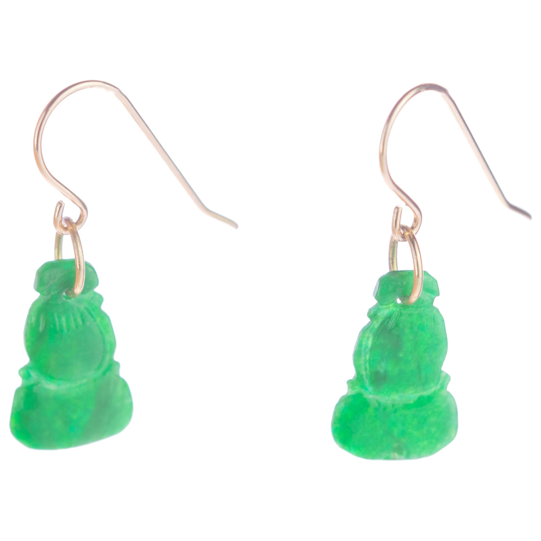Intini Jewels Carved Jade 18 Karat Yellow Gold Crafted Dangle Drop Earrings