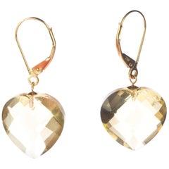 Intini Jewels Citrine Lemon Quartz Heart 18 Karat Yellow Gold Drop Love Earrings