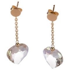 Intini Jewels Citrine Lemon Quartz Heart 18 Karat Yellow Gold Drop Love Earrings
