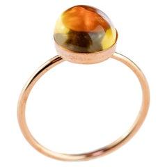 Intini Jewels Citrine Quartz 14 Karat Gold Filled Round Cabochon Cocktail Ring
