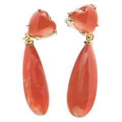 Intini Jewels Coral 18 Karat Yellow Gold Cocktail Tear Drop Long Heart Earrings