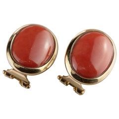 Intini Jewels Coral 18 Karat Yellow Gold Romantic Stud Lever Back Deco Earrings
