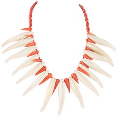 Intini Jewels Bamboo Coral Bone Sterling Silver Tribal Warrior Fangs Necklace