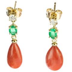 Intini Jewels Coral Tear Emerald Diamond 18 Karat Yellow Gold Bold Drop Earrings