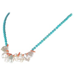 Intini Jewels Coral Turquoise Mother of Pearl Sterling Silver Beaded Necklace