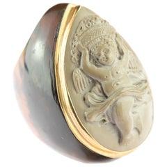 Intini Jewels Dancing Kid Carved Vesuvian Lava Stone Signet 18 Karat Gold Ring