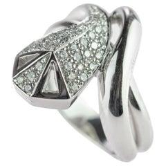 Intini Jewels Diamond 18 Karat White Gold Cluster Italian Serpent Spiral Ring