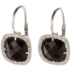 Intini Jewels Diamond Black Onyx 18 Karat Gold Vintage Square Clip-On Earrings