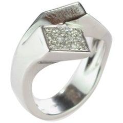 Intini Jewels Diamond Brilliant 18 Karat White Gold Cluster Italian Gala Ring