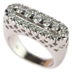 Intini Jewels Diamond Cluster 18 Karat White Gold Band Oval Bridal Cocktail Ring